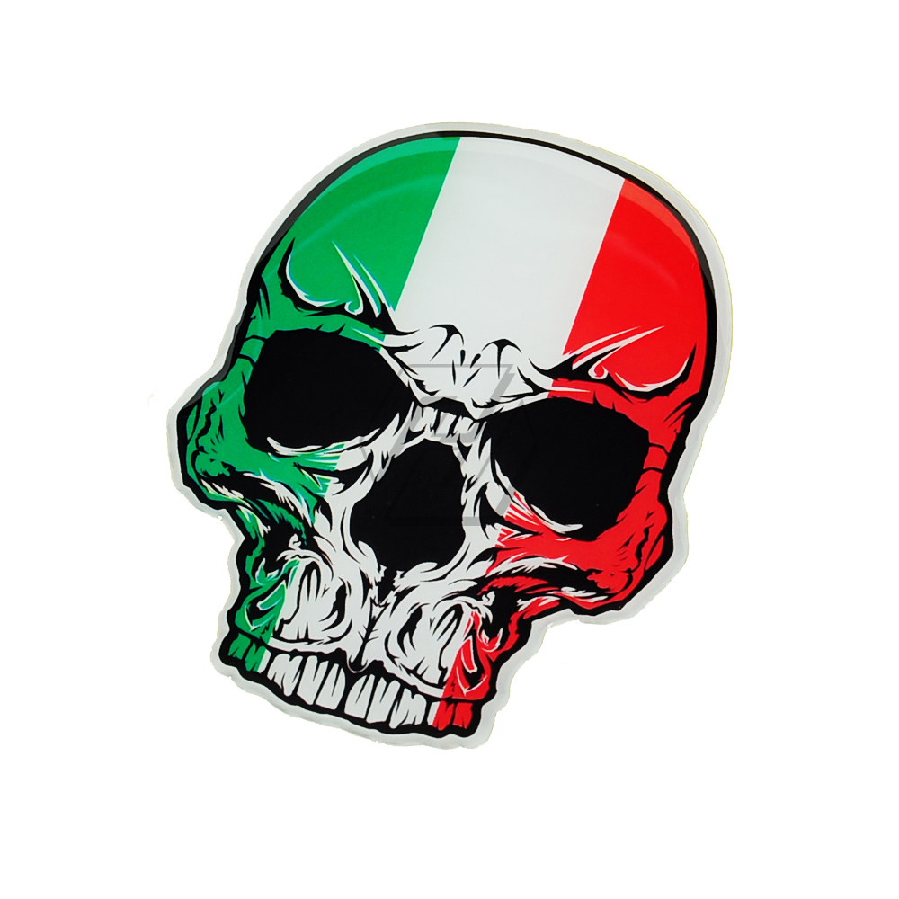 3D Motorcycle Skull Tank Stickers Italy Flag Decals Case For Aprilia KTM Ducati Yamaha AVG Vespa Car Decals