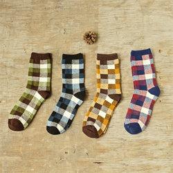 2017 new coloured gird men cotton crew socks of happy sock casual harajuku dress business sox.jpg 250x250