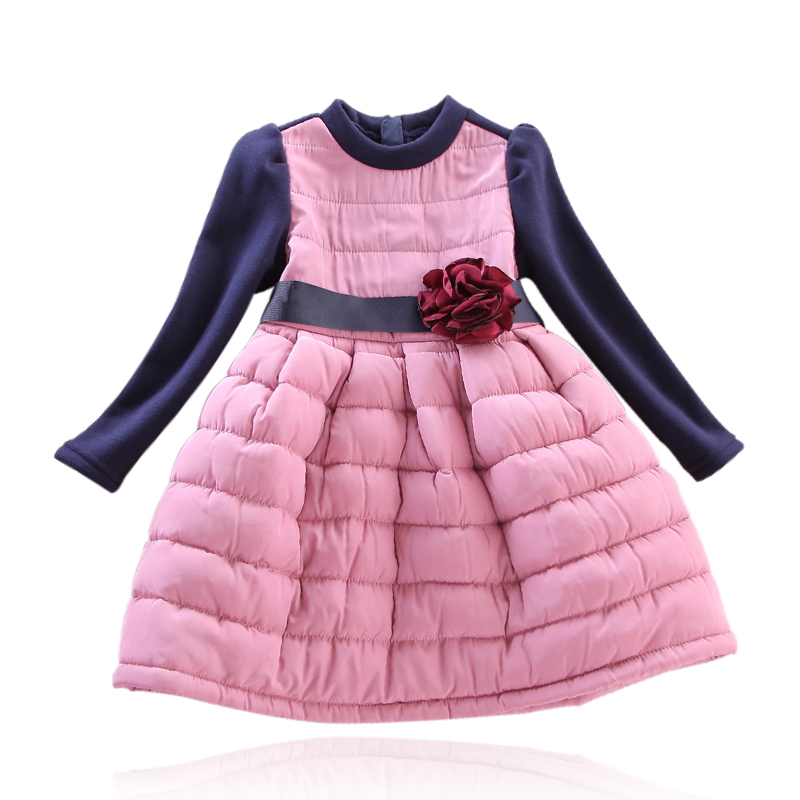 Girls dress children 's wear winter plus velvet thick long - sleeved princess dress button switch ub226skg036cf original