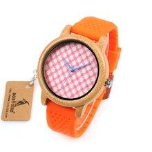 BOBO VOGEL Wb03 Roze Plaid Wijzerplaat Plaat Houten Horloges met Levendige Oranje Siliconen Jelly Riem Quartz Horloge voor Vrouwen