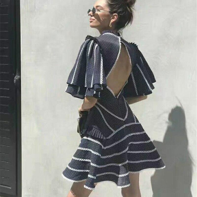 Manicotto Molla 2019 Vestito Mezzo Donne Navy Di Del Sexy Mini Della Blu Collare Delle Modo Backless Basamento xII5pwTr