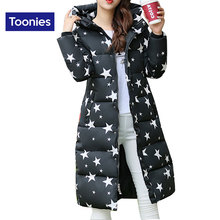High Quality 2017 Women's Winter Jacket Fashion Stars Printed Cotton Casual Slim Hooded Down Jacket Coat Female Thick Outerwear