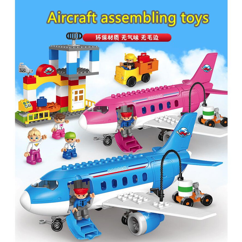 82pcs Large particles child Early education Building Blocks Compatible with duploINGlys Airplane series model toys-in Blocks from Toys & Hobbies    1