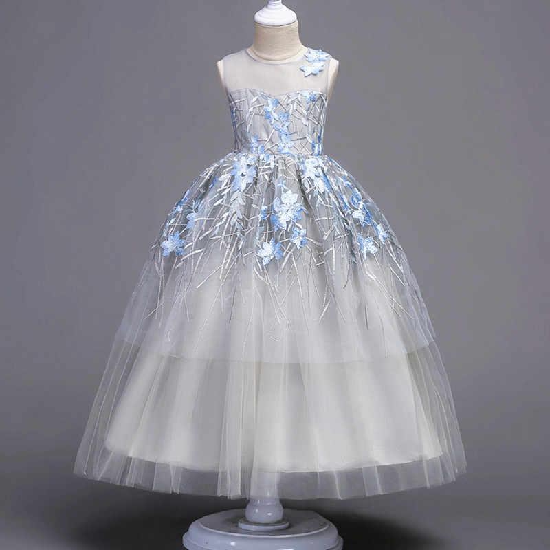 Новинка; элегантные летние длинные платья с цветочным узором для девочек на День рождения; нарядные платья принцессы для торжеств и свадеб для маленьких детей и подростков