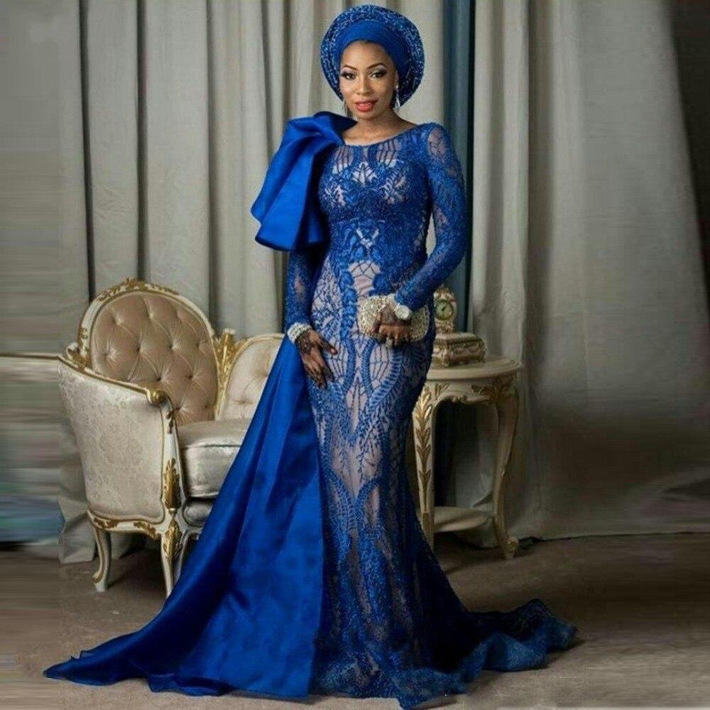 Nigerian Woman Dress Blue Vestido De Festa Longo Full Sleeves Evening Dresses Long Lace Abendkleider Evening Gown Robe De Soiree