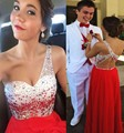 2016 Elegant One Shoulder Backless Long Homecoming Dress With Crystals Beading Sequins Floor Length Chiffon Girls Party Gown