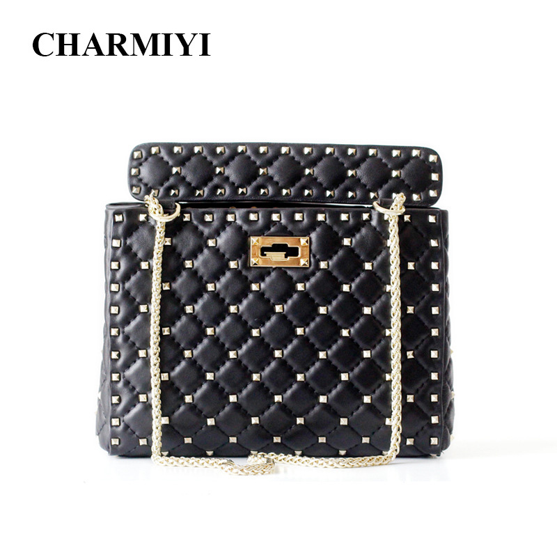 CHARMIYI Brand Genuine Leather Rivet Ladies Shoulder Bag Chain Handbags Design Women Messenger Crossbody Bags Bolsa Feminina women s handbags shoulder bag real leather messenger bags fashion satchel design crossbody leisure drawstring bag bolsa feminina