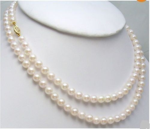 AAA 5.5-6 MM white SOUTH SEA PEARL NECKLACE 32 925silver GOLD CLASP