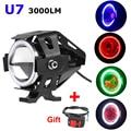 2 PCS 125W Waterproof Motorcycle LED Headlight 3000LMW Cree Led Chips U7 Motorbike LED Driving Fog Spot faros Head Light Lamp