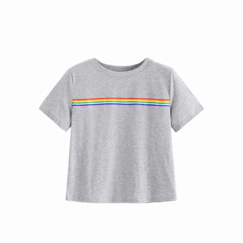 3ffcda50d4 Las mujeres arco iris de verano corto T camisas de la escuela chica  adolescente T camisas