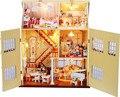 13812 большой поделки из дерева кукольный домик большая вилла кукольный дом из светодиодов огни миниатюры для украшения ручной работы модель игрушечный домик