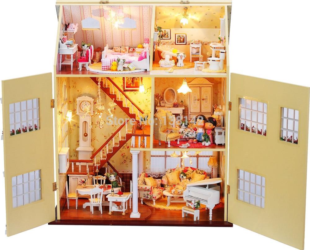 ФОТО 13812 large diy wooden dollhouse big villa doll house LED lights miniatures for decoration handmade model toy house