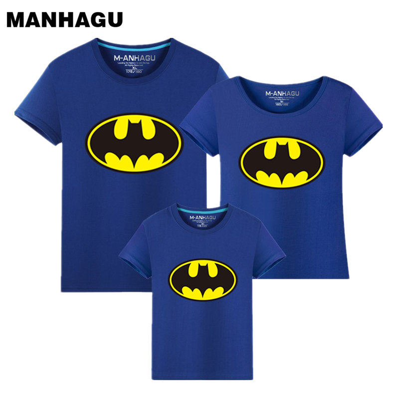 Family Matching Outfits Batman T-shirt Mommy and Me Clothes fashion mother father baby cotton family look short sleeve Clothing