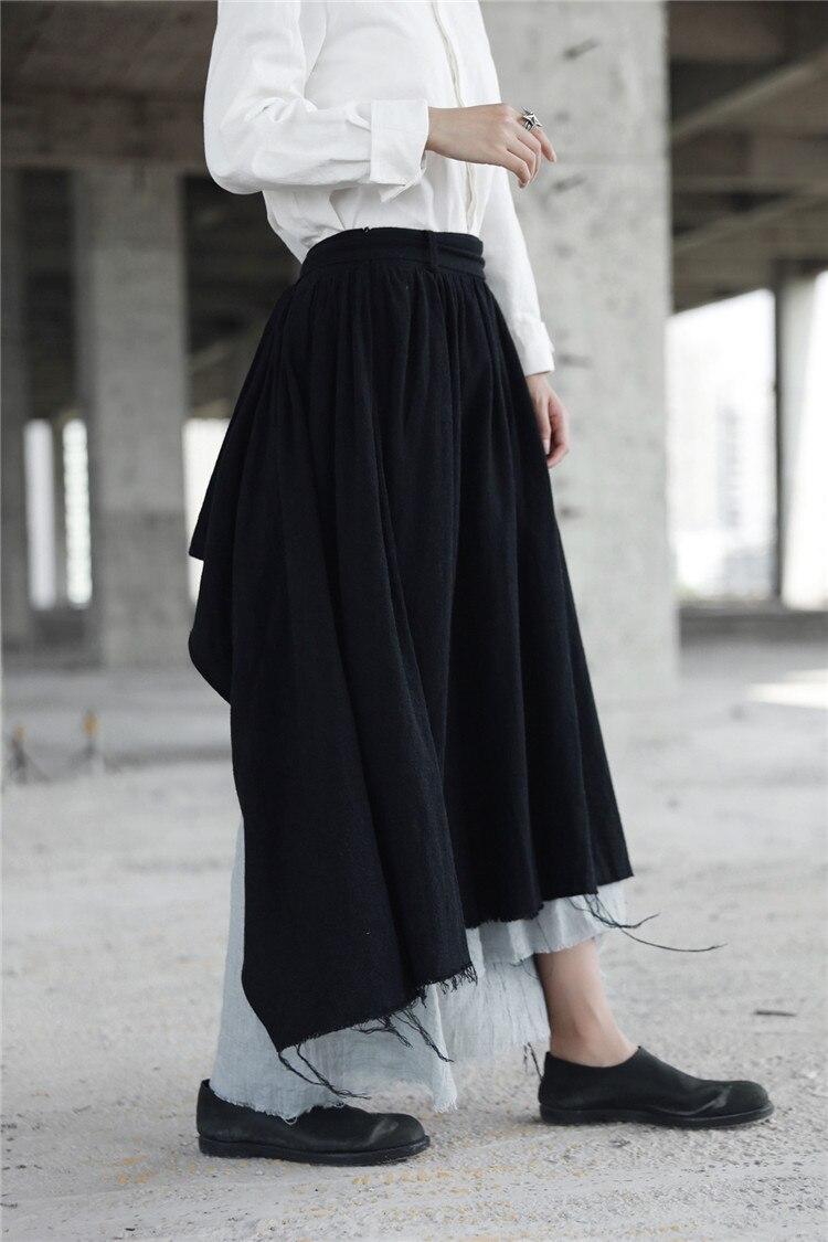 Cakucool جديد غير المتماثلة تنورة النساء القوطية كسر ممزق الجدة عالية الخصر التنانير القوطي اليابانية منتصف طويلة الكتان تنورة الأسود ماكسي-في تنورة من ملابس نسائية على  مجموعة 2