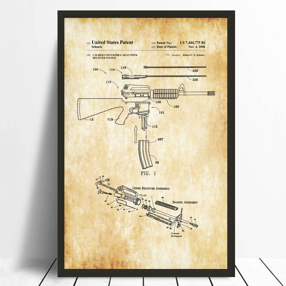 Smith and Wesson Revolver Patent 1894 Patent Art Silk Fabric Poster ...