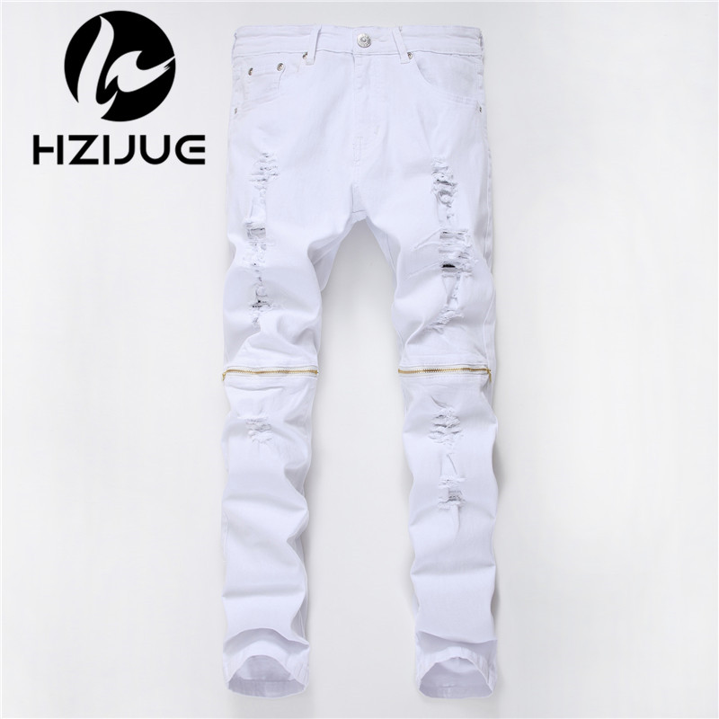 HZIJUE 2017 Fashion Ripped Straight Jeans Men Slim Printed Jeans Men's Tide Brand Hole Denim Fabric Hip Hop Pants Casual 4 color men s cowboy jeans fashion blue jeans pant men plus sizes regular slim fit denim jean pants male high quality brand jeans