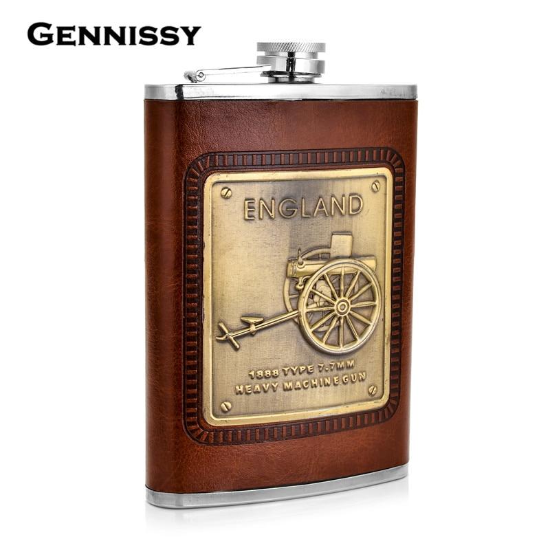 GENNISSY 7 9oz Portable Hip Flask Leather Groomsmen Gifts Pocket Stainless Steel Liquor Whisky Flasks England