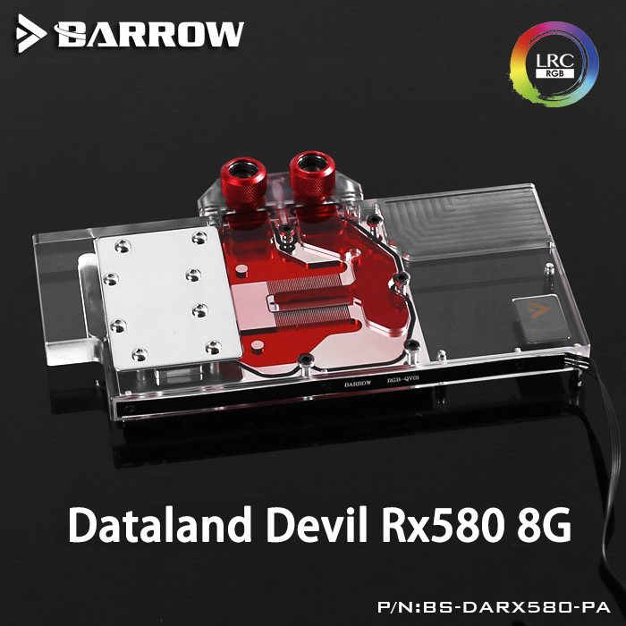 618910 580 1 Barrow BS-DARX580-PA LRC RGB v1/v2 Full Cover Graphics Card Water Cooling Block for Dataland DEVIL RX580