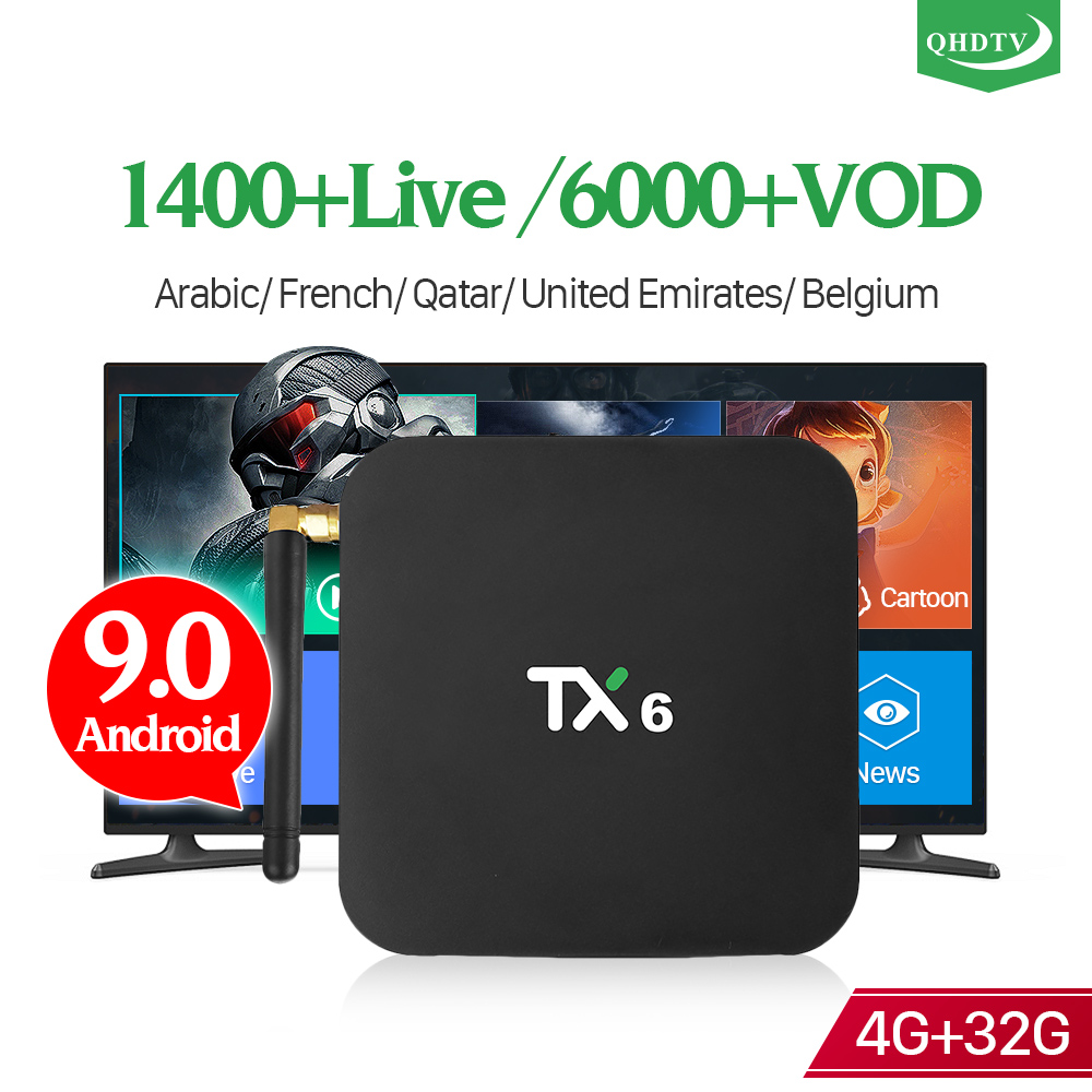 Android 9.0 IPTV France Arabic Box TX6 4+32G BT5.0 USB3.0 Dual-Band WIFI France Arabic Dutch IPTV Subscription 1 Year QHDTV Code