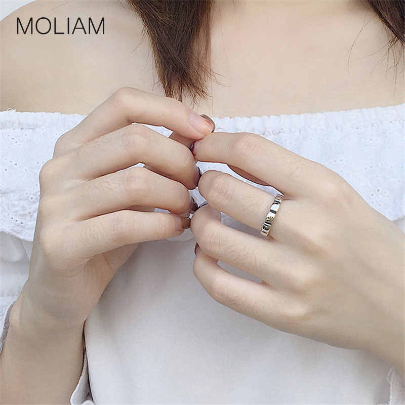 MOLIAM אמיתי 925 סטרלינג כסף מתכוונן אצבע טבעת עבור נשים בציר גיאומטרי בלוק פתוח טבעת תכשיטים סיטונאי MLRT0098