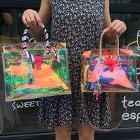 Hologramme sac transparent sac de plage pvc en plastique sac femmes d'été 2017 nouvelle haute qualité candey couleur