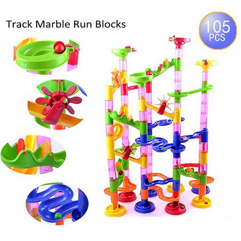 Brand New 105pcs DIY Construction Marble Race Run Maze Balls Track Plastic House Building Blocks Toys