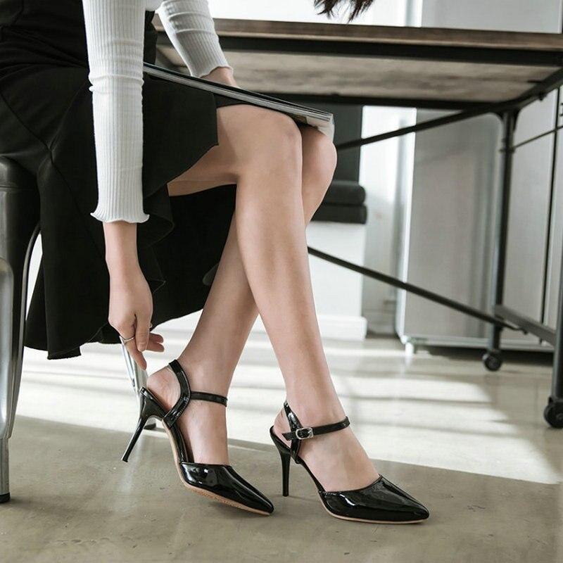 Hauts black Slingback Brevet D'été Gladiateur Femme rose Sandales Pointu Pu Bout Beige Femmes Zawsthia Talons Mince Chaussures De Pompes Habillées PSqU8
