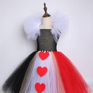 Image 5 - 검은 색과 빨간색 여왕 하트 투투 드레스 앨리스 카니발 할로윈 코스프레 의상 여자 아이 생일 파티 드레스 2 12 년
