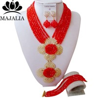 Trendy red Nigerian wedding African beads jewelry set crystal necklace bracelet earrings Majalia A well known brand 1059