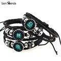 12 Constellation Bracelet Snap Male Charm Leather Bracelet Men Braided Horoscope Bracelets For Women Femme Female MCC0045
