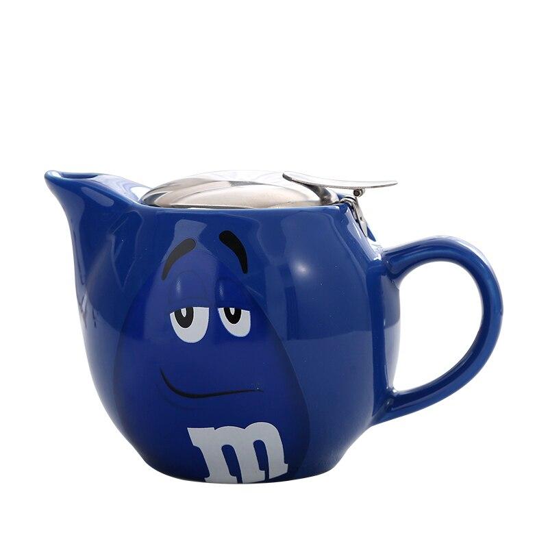 550ml Ceramic Tea pot Chinese Cartoon M Chocolate Beans Porcelain Teapot Drinkware KungFu Tools Tea Pot