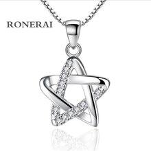 RONERAI Best Fashion Style 925 Silver Pentagram Rhinestone CZ Pendant Necklaces For Women Jewelry Wedding Party