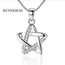 RONERAI Best Fashion Style 925 Silver Pentagram Rhinestone CZ Pendant & Necklaces For Women Jewelry Wedding Party Gift
