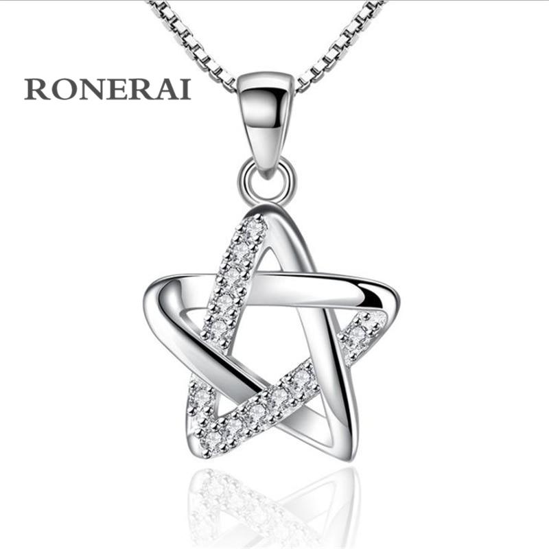 0449358daffa RONERAI mejor estilo de la moda de plata 925 Pentagram Rhinestone CZ  colgante y collares para las mujeres joyería regalo de boda