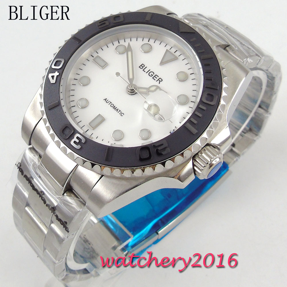 2017 Newest Hot top 40mm Bliger white Dial Sapphire Glass SS Date Window Lume Automatic Movement Men's Mechanical Wristwatches