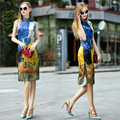 2016 Limited Acetate Broadcloth Qipao Chinese Dress 2017 New National Style Chinese Art And Design Fashion Ink Long Heavy Dress
