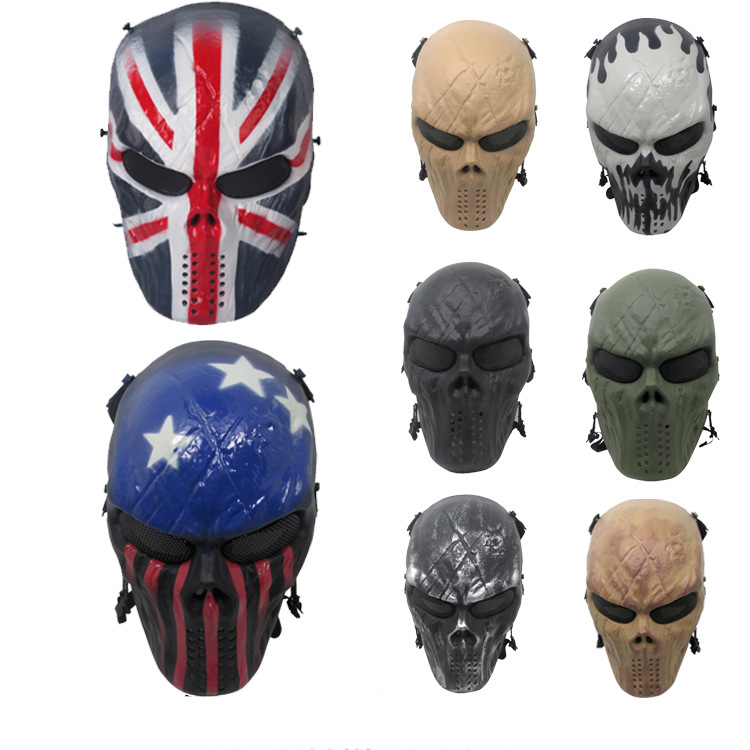 8 Color Paintball Masks Party Skull Full Face Mask Army Games Outdoor Metal Mesh Eye Shield Costume For Halloween Masks
