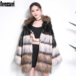 50541e98137e5 Nerazzurri Winter faux fur coat hood long sleeve jacket