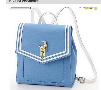 2018 Sailor moon luna metal moon women backpack limited edition water ice on the magic wand spell color stripe shoulder bag shadows on the moon