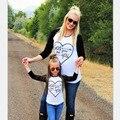 Corazón-forma de la Manga Completa Madre Hija Juego Conjuntos Conjuntos Camisetas Madre E Hija de La Familia Juego Clother Superior madre e hija