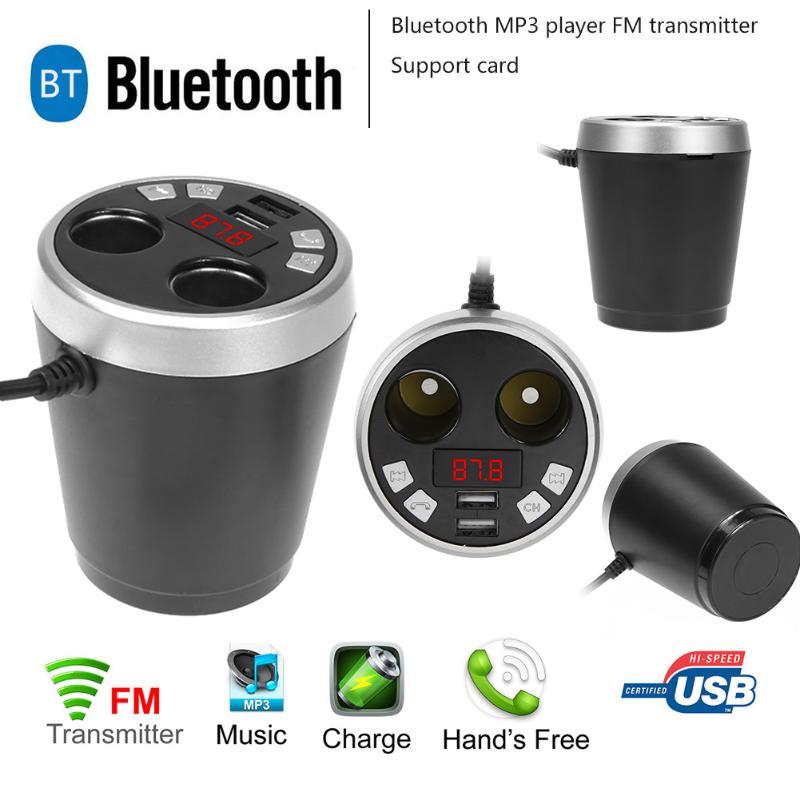 Bluetooth De Voiture Kit Sans Fil Transmetteur Fm Radio Adaptateur FM Modulateur Mains Libres Musique Mp3 Allume-cigare Double USB Chargeur Nouveau