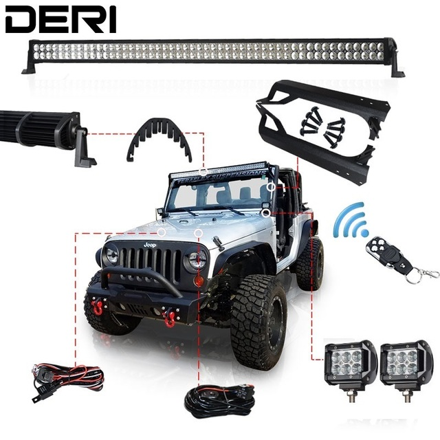"50inch 288W 4"" 18W Offroad Dual Row Straight Combo LED Light Bar Mount Brackets for Jeep Wrangler TJ 97-06 Remote Controller Kit"