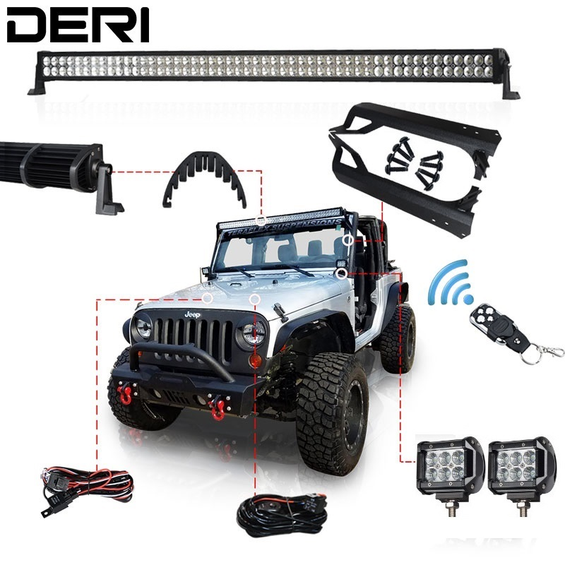 50inch 288W 4 18W Offroad Dual Row Straight Combo LED Light Bar Mount Brackets for Jeep Wrangler TJ 97-06 Remote Controller Kit