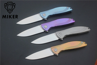 MIKER Neon ceramic D2 titanium flipper folding Kitchen Fruit camp hunting outdoor survive Utility Tactical knife EDC tools