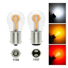 Автомобильный светодиодный светильник BAY15D, 2 шт., 1156 BA15S P21W 1157 BAY15D, 12 В 3030 SMD 18 светодиодный фонарь заднего хода, стоп-сигнал