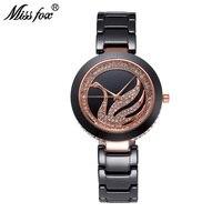 Miss Fox Swan Ceramic Watch Women Rhinestone Dress Women Rose Gold Watch Diamond Japan Core Missfox Women Metal Watch Bracelets