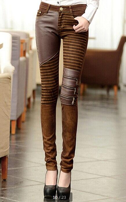 'pu Patchwork Jeans mode pantalon Femmes fermetures cuir 1TFKlcJ
