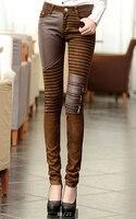 La mujer de la PU del remiendo Jeans pantalones moda cremalleras botas pantalones pantalones lápiz más el tamaño PT-023 marrón negro