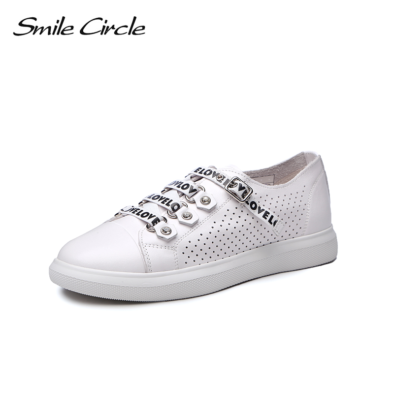 Smile Circle 2018 Spring/Summer White Sneakers Women Casual Shoes Women Flat Rhinestone decoration Breathable Shoes Girl Shoes gogc 2018 new floral denim slipony women breathable shallow shoes footwear flat shoes women fashion sneakers women summer spring