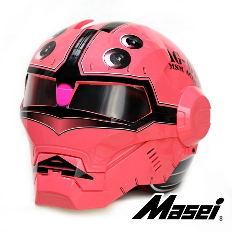 2016 Dark Red Crab MASEI  motorcycle helmet IRONMAN Iron Man helmet half helmet open face helmet casque motocross 610 casque motocross masei motorcycle helmet helmet open - title=